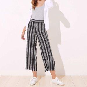 Loft Black & White Striped Fluid Ankle Pants